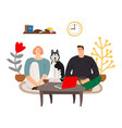 evening time family and dog vector image vector image