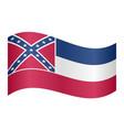 flag of mississippi waving on white background vector image vector image