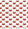 Flat red crab seamless pattern vector image