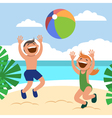 Funny kids on the beach Happy boy and girl vector image vector image