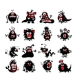 Halloween black monster silhouettes Bacteria and vector image vector image