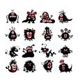 halloween black monster silhouettes bacteria vector image