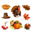 Happy Thanksgiving cartoon character and objects
