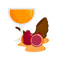 honey glass with a shofar and a pomegranate rosh vector image