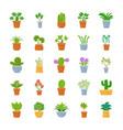 houseplants flat icons vector image