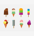 ice cream objects icons set vector image vector image