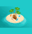 isometric paradise island in middle of ocean vector image vector image