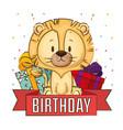 little cute lion birthday card vector image vector image