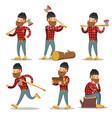 lumberjack cartoon character set woodcutter vector image vector image