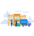 man worker in uniform giving box to young man vector image vector image