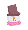 merry christmas celebration cute snowman face with vector image vector image