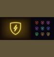 neon electric shield icon glowing neon shield vector image vector image