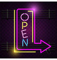 Open arrow sign neon purple background imag
