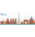 paris france city skyline with color buildings vector image vector image