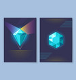 poster with diamond of blue vector image vector image