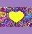 romantic ornamental frame heart rainbow colo vector image