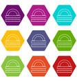 ruler and protractor icon set color hexahedron vector image vector image