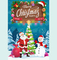 santa and snowman with christmas gifts xmas party vector image vector image
