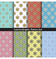 set of 8 vintage flowers graphic pattern vector image vector image
