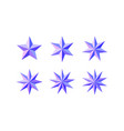 set of beautiful faceted shiny pink blue stars vector image