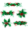 set of holly berries design elements vector image vector image