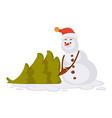 snowman in red christmas hat carries small spruce vector image vector image