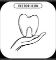 tooth on hand vector image vector image