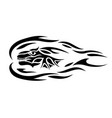 tribal tattoo art with black flaming dragon head vector image vector image