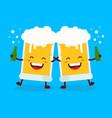 two cute dancing fun friend drunk beer glasses vector image vector image