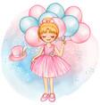 watercolor princess ballerina with pink balloons vector image