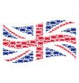 waving uk flag mosaic of car items vector image vector image