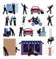 Burglar Flat Icons Set vector image