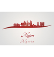 Algiers skyline in red vector image vector image