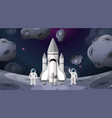 astronaut and rocket space scene vector image vector image