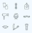 barbershop icons line style set with beauty vector image vector image