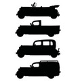 black silhouettes of vintage cars vector image
