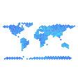 blue hexagon world continent map vector image