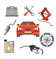 car service set red automobile and working vector image