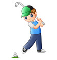cartoon boy playing golf vector image