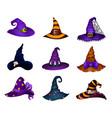 cartoon halloween hats of witch or enchantress vector image vector image