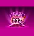 casino slots 777 banner winner scene podium vector image vector image