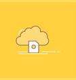 cloud upload save data computing flat line filled vector image