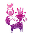 color silhouette owl and fox animals with feathers vector image