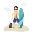 conceptual business flat banner man on beach vector image vector image