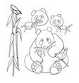 cute panda characters and bamboo coloring book vector image vector image