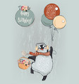 cute penguin with balloons vector image