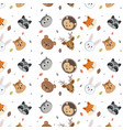 cute wild animals head pattern over white vector image vector image