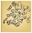 Doodle Bicycle icon set vector image vector image