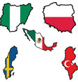 flag in map of NigeriaPolandMexicoSwedenTunisia vector image