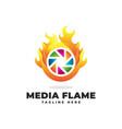 flame media logo vector image vector image